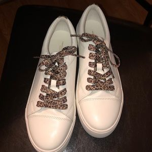 White cheetah lace sneakers